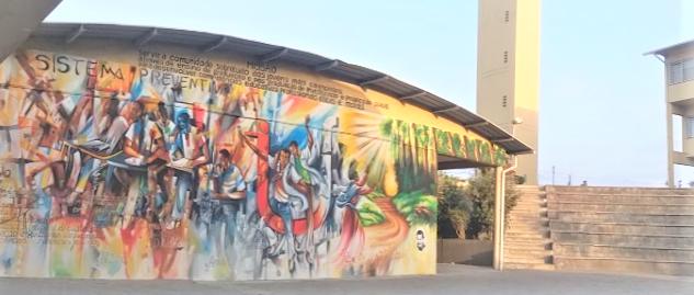 Mural del Sistema Preventivo en el Instituto Superior Don Bosco (ISDB) de Maputo